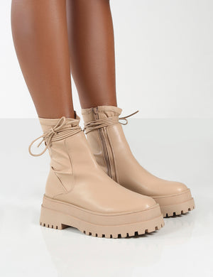 Finale Wide Fit Nude Chunky Sole Ankle Wrap Boots