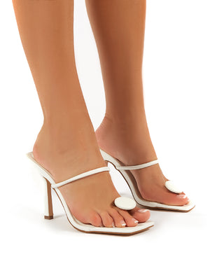 Kai White Toe Post Square Toe Mule Heels