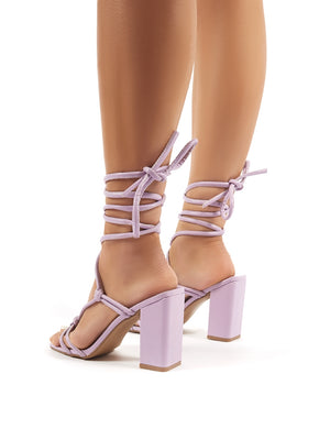 Lois Lilac Strappy Lace Up Block Heel