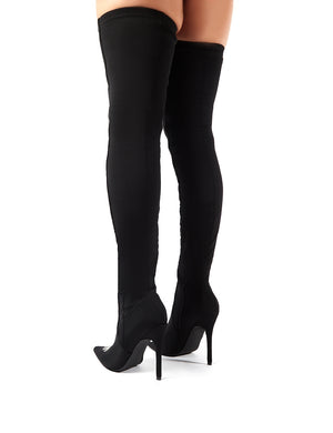 Spooked Black Glow in the Dark Skeleton Over the Knee Boots