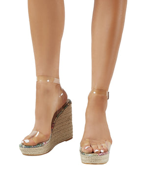 Sydney Espadrille Wedges in Snakeskin and Perspex