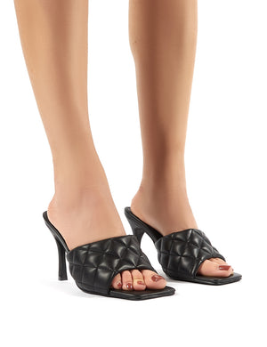 Bossy Black PU Quilted Heeled Mules