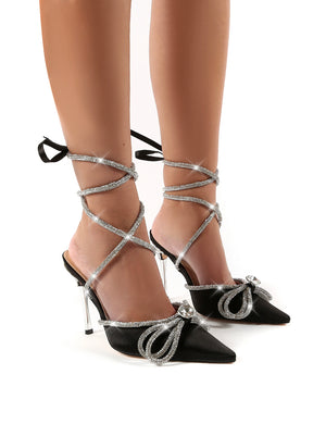 Afterhours Black Wide Fit Diamante Bow Tie Ankle Court Heels