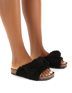 Allison Black Bow Detail Flat Slider