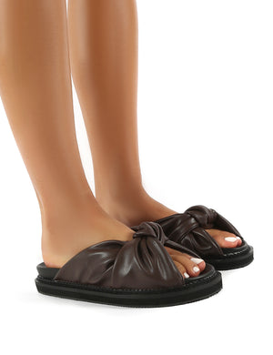 Bay Choc Drench PU Knot Detail Sandals