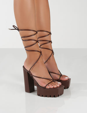 Certified Choc Chunky Platform Lace Up Heels