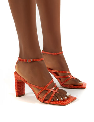 Charms Orange Croc Square Toe Strappy Detail Block Heels