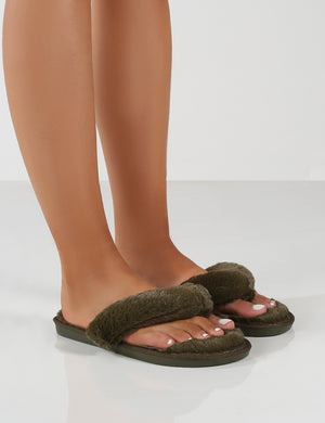 Cuddle Khaki Green Thong Strap Faux Fur Slippers