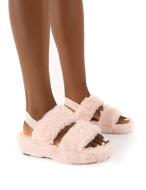 Dawn Pink Strap Back Faux Fur Fluffy Slippers