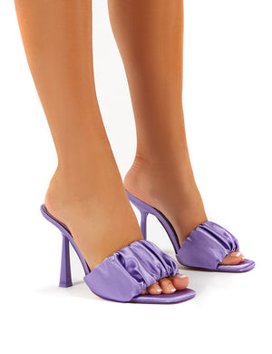 Dreamland Lilac Ruched Satin Square Toe Mule