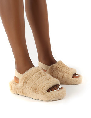 Dreams Beige Strap Back Faux Fur Fluffy Slippers