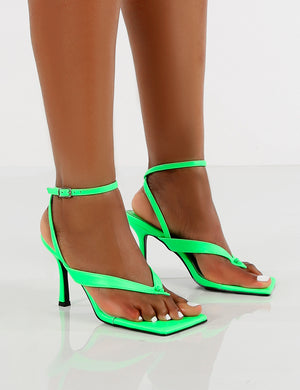 Flamingo Green Toe Thong Strap Buckle Detail Mid Heels