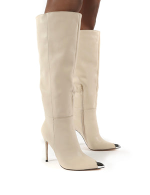 Forgive Stone Pu Wide Fit Heeled Knee High Boots