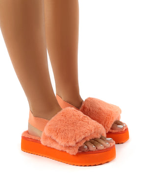 Funky Coral Platform Chunky Sole Velcro Strap Slippers