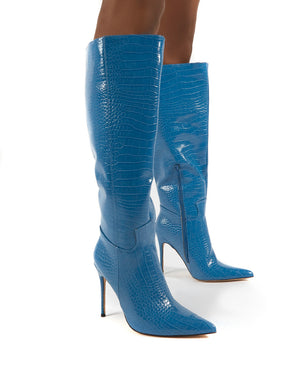 Go Wide Fit Blue Knee High Pointed Toe Stiletto Heeled Boots