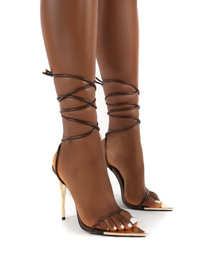 Influenced Choc Wrap Around Leg Court High Heels