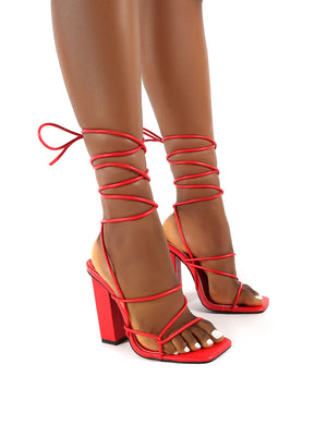 Mollie Red Pu Wide FIt Lace Up Block Heels