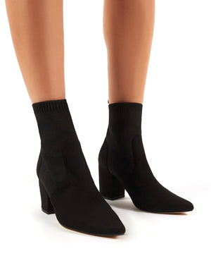 Nuala Black Suede Block Heeled Knitted
