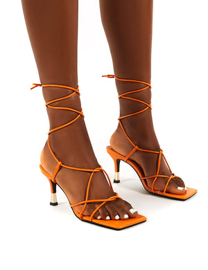Orion Orange Lace Up Ankle Square Toe Kitten Heels