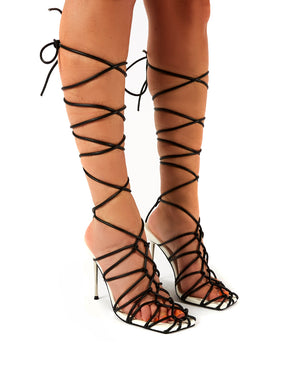 Rulebreaker Mono Lace Up Stiletto High Heels