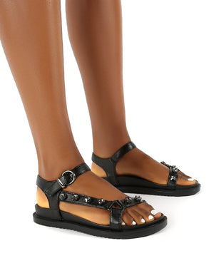 Sadie Black Jewel Detail Flat Sandal