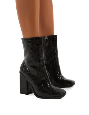 Slick Black Croc Square Toe Block Heeled Ankle Boots