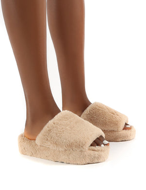 Snoozie Nude Faux Fur Chunky Platform Sole Sliders