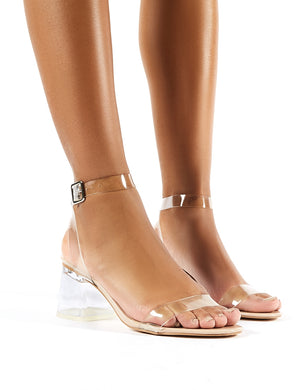Afternoon Wide Fit Nude Patent Perspex Block Mid Heels