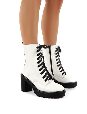 Fearne White Lace Up Chunky Heeled