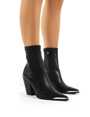 Phoenix Black PU Block Heeled Western Ankle Boots