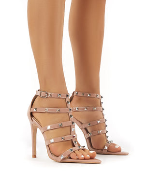 Sara Nude Patent Studded Stiletto High Heels