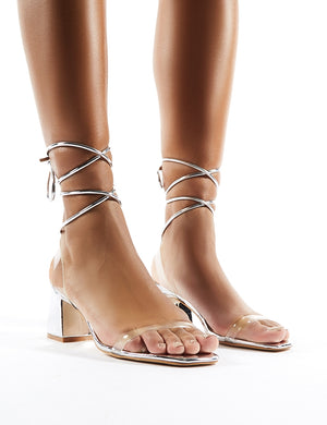 Tomorrow Silver Lace Up Perspex Block Heels