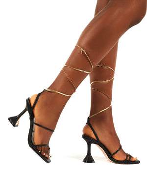 Evalyn Black Strappy Detail Mid Height