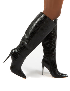 Go Wide Fit Black Knee High Pointed Toe Stiletto Heeled Boots