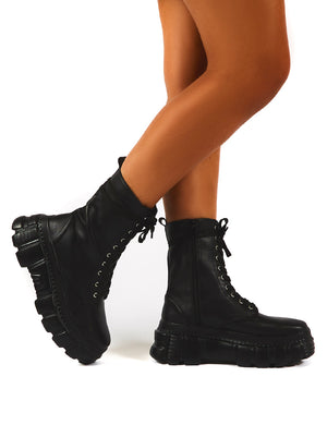 Survivor Black Chunky Sole Lace Up Ankle Boot
