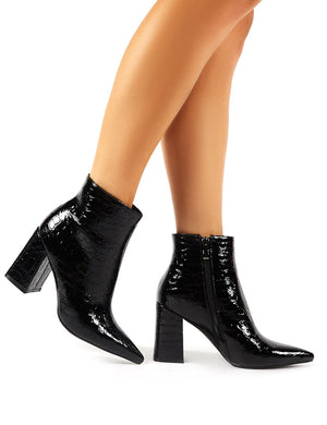 Hollie Pointed Toe Ankle Boots in Black Croc