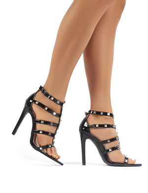 Sara Black Patent Studded Stiletto High Heels