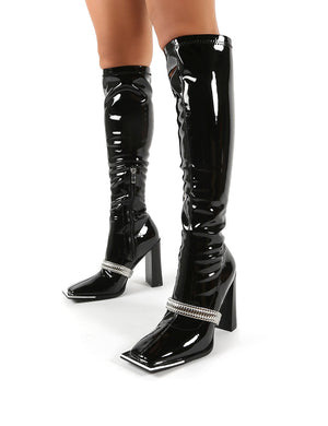Manic Black Removable Chain Detail Knee High Heeled Boots