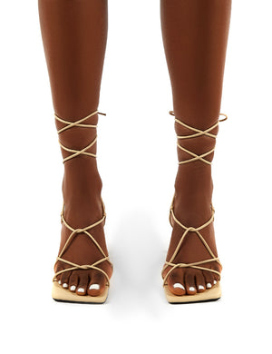 Orion Tapioca Lace Up Ankle Square Toe Kitten Heels