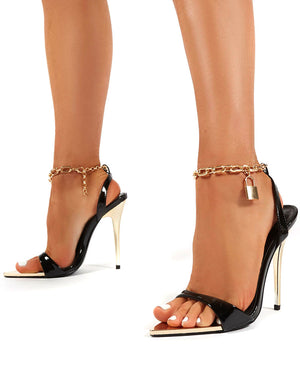 Triumph Black PU Lock Chain Detail Anklet Strap Stiletto Heels