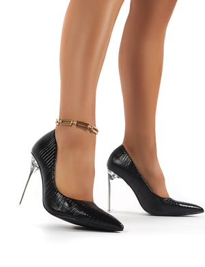 Distraction Black Snakeskin Court Perspex High Heels with Gold Anklet