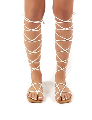 Natalia White Pu Lace up Flat Gladiator Sandals