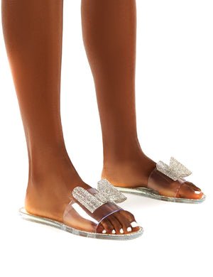 Bobbie Clear Perspex Diamante Detail Bow Flat Sandals