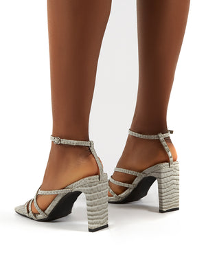 Charms Grey Croc Wide Fit Square Toe Strappy Detail Heels
