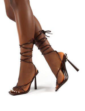 Lacey Chocolate Square Toe Strappy Lace Up Heels