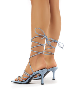 Cabo Blue Strappy Lace Up Square Toe Kitten Heels