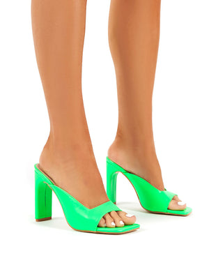 Abelle Green Sqaue Toe High Heeled Mules