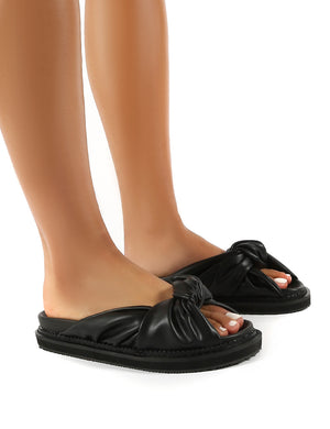 Bay Black PU Knot Detail Sandals