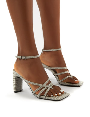 Charms Grey Croc Square Toe Strappy Detail Block Heels