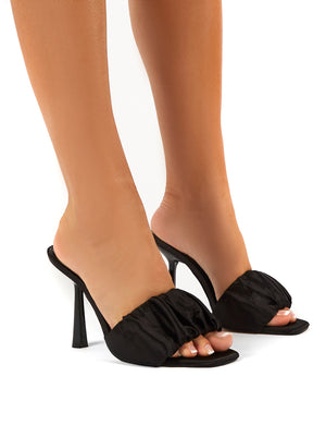 Dreamland Black Ruched Satin Square Toe Mule